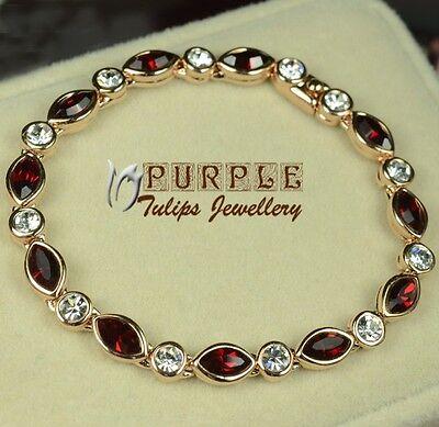 18CT Rose Gold Plated Elegant Ruby Bracelet Made With SWAROVSKI CRYSTAL