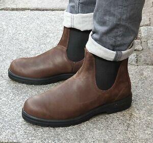 BLUNDSTONE-Schuh-Braun-1609-Antique-Brown-Original-Herren-Echtleder-Chelsea-Boot
