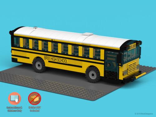 "Instructions /& Stickers to build a custom Lego School Bus /""Flat Front/"" NO BRICKS"