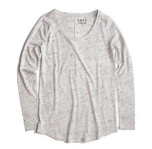 LOFT-Women-039-s-M-NWT-Oatmeal-Heather-Multi-Flecked-Vintage-Soft-Long-Sleeve-Tee