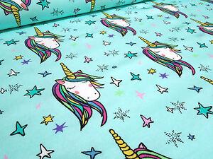 Stoff-Baumwolle-Jersey-Einhorn-Sterne-Unicorn-Stars-tuerkis-Kinderstoffe