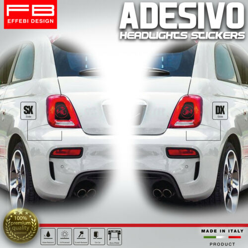 Stickers Fiat 500 Abarth 595 695 Racing Lights Headlight Carbon Look Tuning