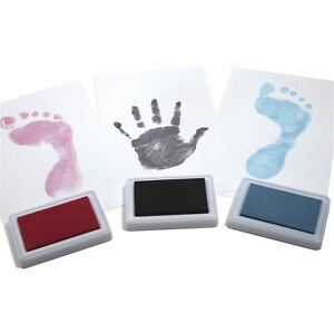 Baby-Safe-REUSABLE-Hand-amp-Foot-Print-Keepsake-Ink-Pad-Children-Colour-Choice
