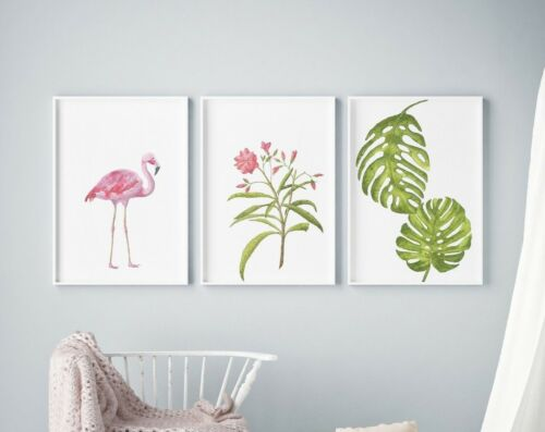 Set of 3 Flamingo Floral Pink Watercolour Prints Nursery Kids Room Wall Art BDS2