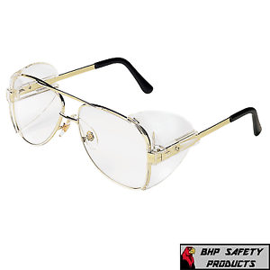 41a38cdbdfc8 MCR CREWS ENGINEER AVIATOR SAFETY GLASSES 54MM GOLD FRAME CLEAR LENS ...