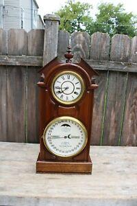 Ithaca  clock co. new York 30 day double dial shelf calendar clock