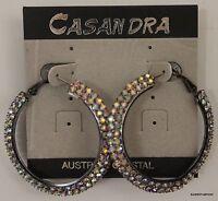 Earrings Hoop Crystal Accents Casandra Silver Dangle Casual Dressy 1.5 Drop