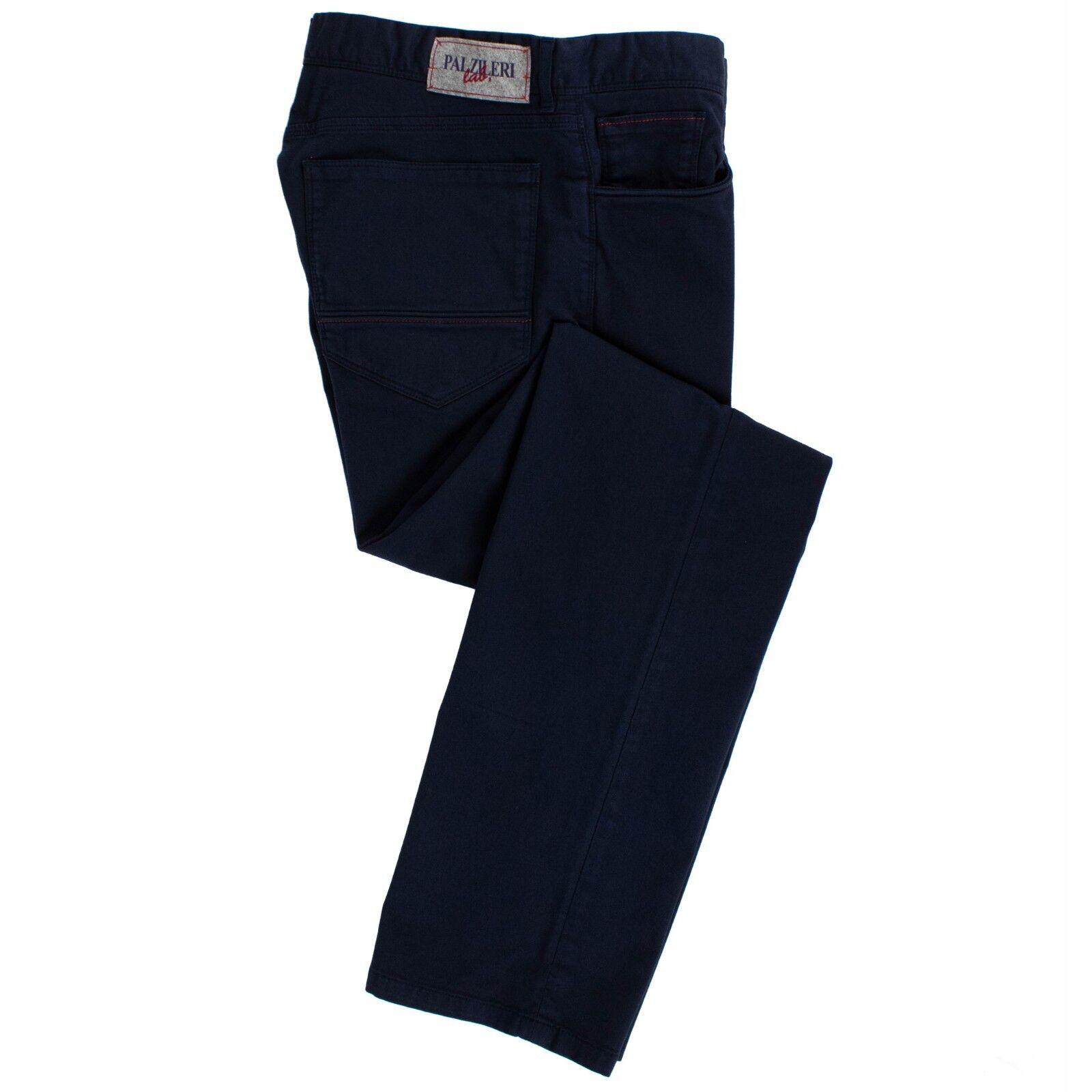 Nuovo Pal Zileri Laboratorio Blu Navy Misto Cotone Pantaloni Taglia 50 34