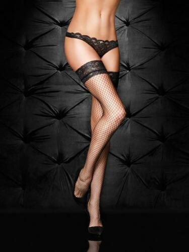 Black Ann Summers Lace Top Fishnet Hold Ups Sizes XS to XXL