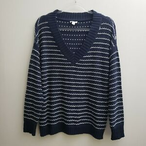 Westport-Women-Sweater-XL-Navy-Blue-White-Striped-V-neck-Pullover-Cotton-NWOT