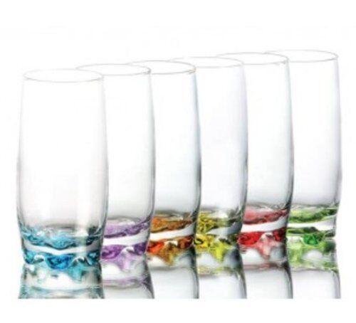 Lot de 6 pcs couleur base verres boisson whisky soda style verrerie jus boxed
