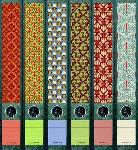 File Art Ordnerrücken Etiketten Pattern für 12 schmal Ordner AJ607+608
