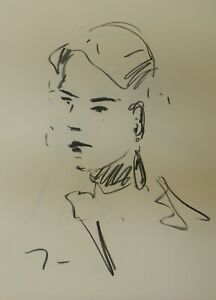 JOSE TRUJILLO Original Charcoal Paper Sketch Drawing 18x24 Female Woman Portrait