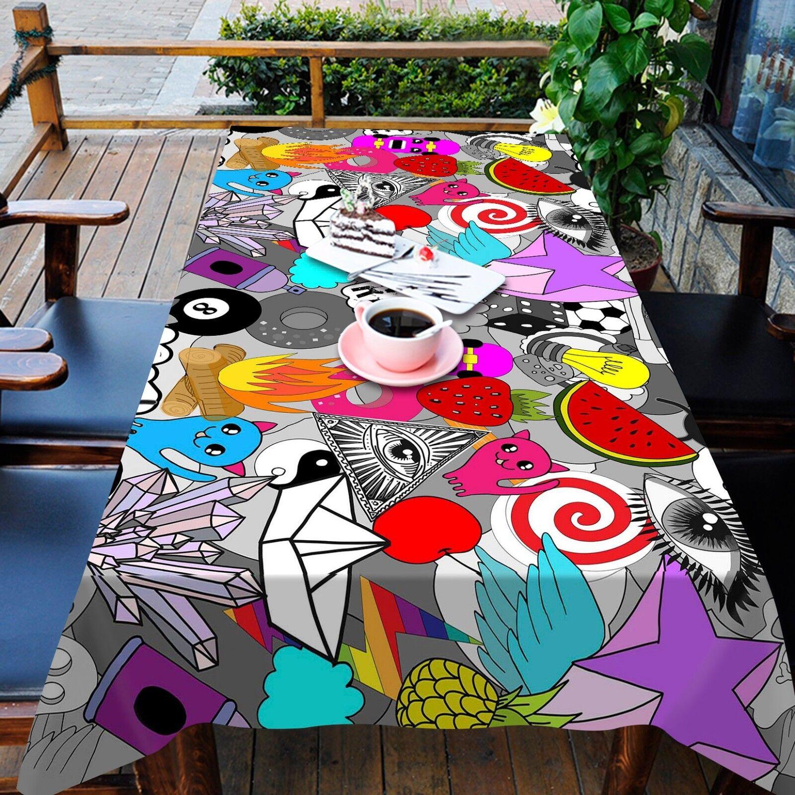 3D CARICATURE 45 Nappe Table Cover Cloth fête d'anniversaire AJ papier peint Royaume-Uni Citron