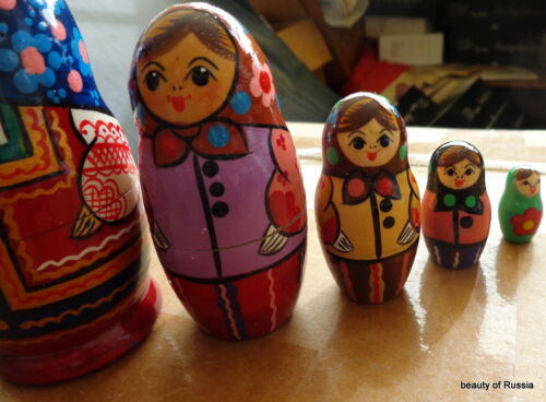 "old russian  design       RUSSIAN NESTING DOLL  5 PCS  4.25/""  #9"