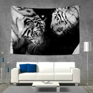Details About Wild White Tiger At Night Tapestry Wall Hanging Living Room Bedroom Home Decor