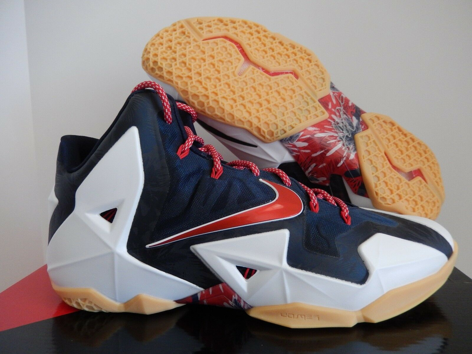 NIKE LEBRON BLUE XI 11 USA WHITE-UNIVERSITY RED-OBSIDIAN NAVY BLUE LEBRON SZ 12 [616175-164] dc6684