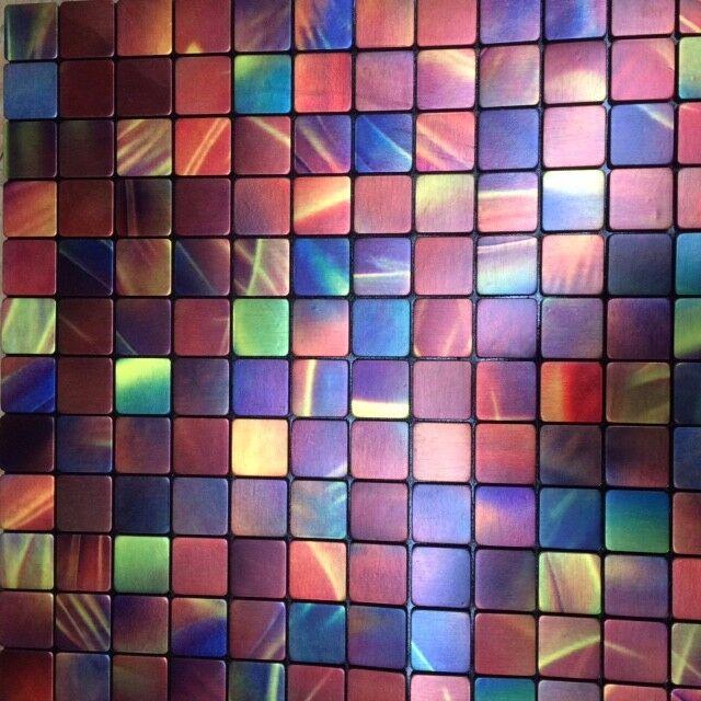 Design Alu Mosaik Fliesen Bunt Aluminium Metall Selbstklebend Ebay