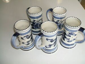 5 CHOPES BLUE DELFTS - HAND PAINTED - MADE IN HOLLAND N° 646 en bon état-ht 14 yZQfEjct-09112934-626261141