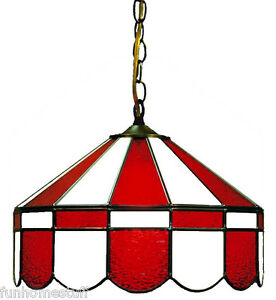 red white 16 stained glass hanging pub light fixture bar table