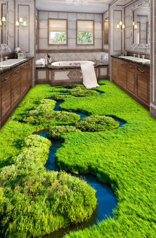 3D Grasland Fluss 500 Fototapeten Wandbild Fototapete Tapete Familie DE Lemon