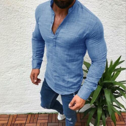 Men/'s Long Sleeve Linen Tight Shirt Casual Shirt Breathable Soft V-Neck Tops