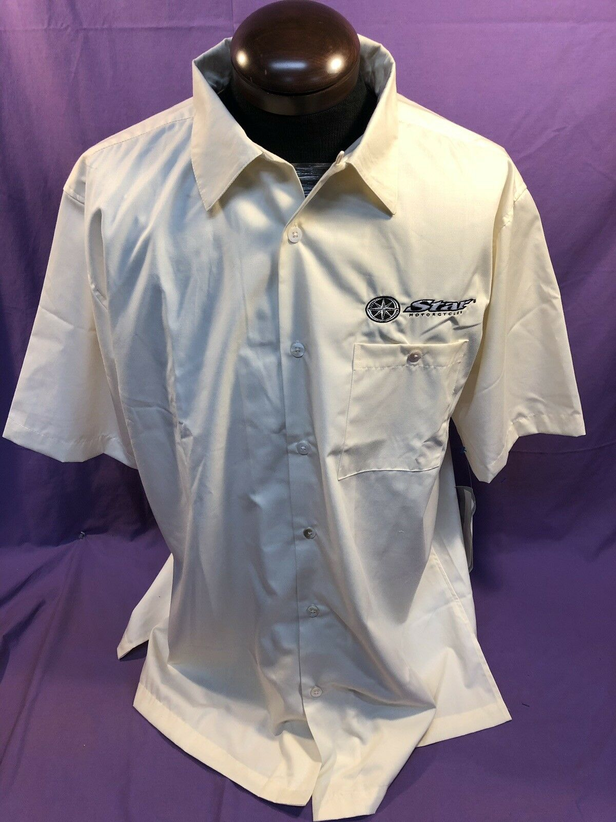 Mens NEW YAMAHA STAR MOTORCYCLE Embroidered Camp Shirt Ivory Cotton Blend NWT