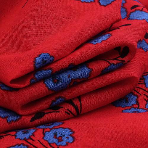 UK Women Summer Bohemia Floral Sundress Casual Loose Flare Swing Long Maxi Dress