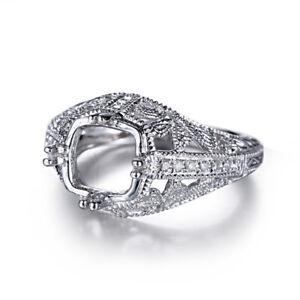 Silver-8-9mm-Round-Semi-Mount-Natural-SI-H-Diamonds-Ring-Setting-Fine-Jewelry