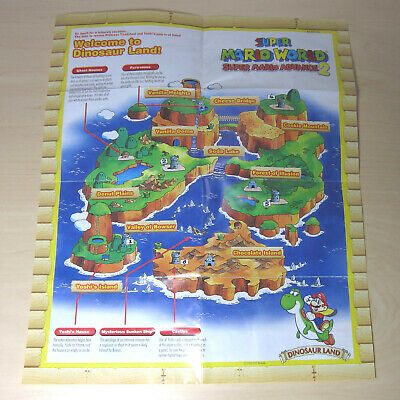 Super Mario World Advance 2 GBA Foldable Poster Map Dinosaur Land Insert on map of moshi monsters, map of fire emblem, map of oregon trail, map of kingdom hearts, map of sports, map of pokemon, map of sesame street, map of luigi's mansion, map of angry birds, map of baseball, map of hello kitty,