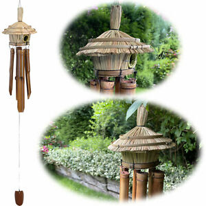 Holz Windspiel Klang-Spiel Bambus 45cm Vogelhaus Klangröhren Garten Feng Shui