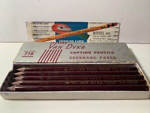 Vintage-Box-of-11-Van-Dyke-Copying-Pencils-Eberhard-Faber-716-Medium-USA