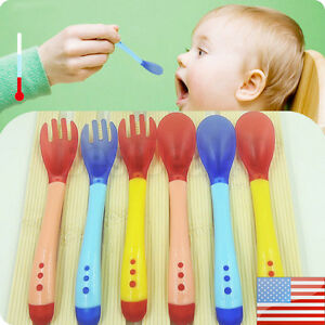 Baby Safety Silicone Temperature Sensing Spoon and Fork Feeding Flatware Fp