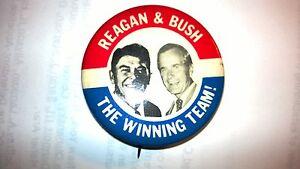 "Vintage ""REAGAN & BUSH THE WINNING TEAM!"" POLITICAL 1 3/4"" Pinback Button"