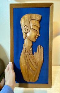 "Vintage Wood Wooden Hand Carved Sculpture Man Praying 20""x 10"""