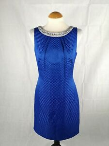 Ladies-Dress-Size-10-MONSOON-Blue-Textured-Beaded-Neckline-Party-Evening-Wedding