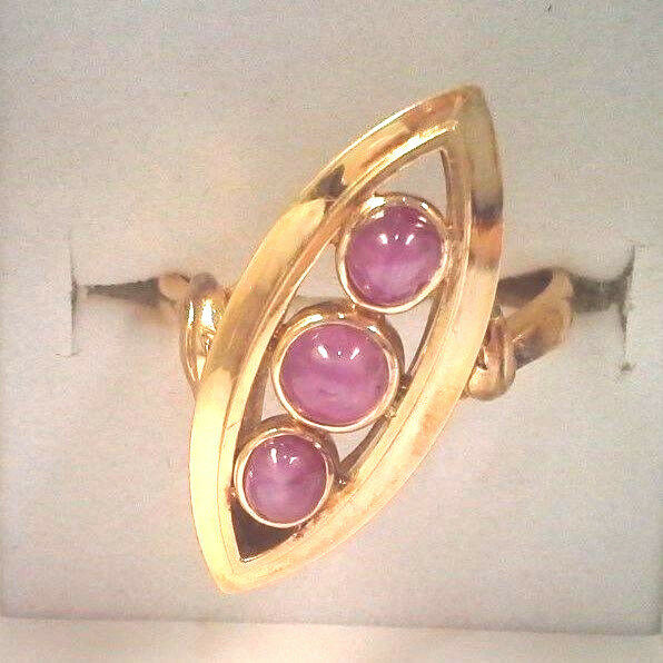 EXTRAORDINARY 3-CABOCHON RUBY SOLID 14K YELLOW gold RING Oval Shape Unique