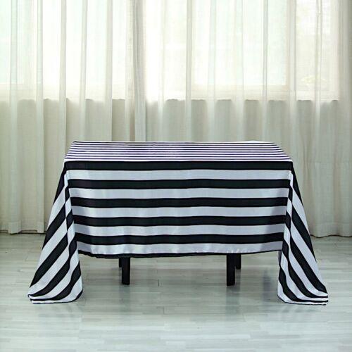 "BLACK WHITE 60x102/"" Satin Stripes Rectangular Tablecloth Wedding Decorations"