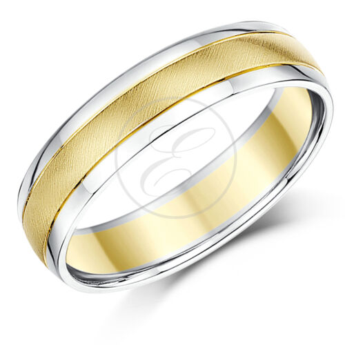 8mm 9mm 7mm 6mm 9ct Yellow Gold /& Silver Two Colour Wedding Ring Band 5mm