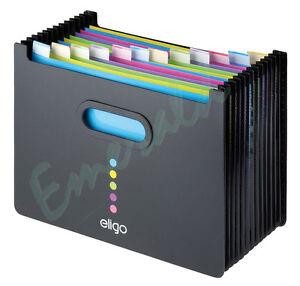 Expanding-Desk-Organiser-Box-File-LANDSCAPE-13-Part-BLACK-15174-Fast-Dispatch