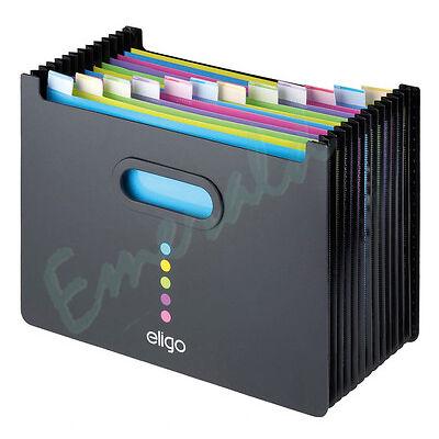 Expanding Desk Organiser Box File LANDSCAPE 13 Part - BLACK 15174 Fast Dispatch