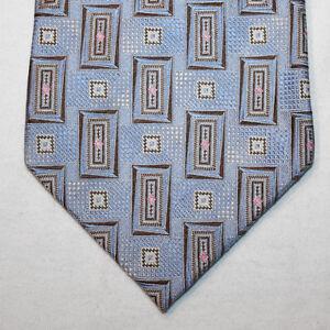 NEW-Bugatchi-Silk-Neck-Tie-Light-Blue-with-Brown-and-Beige-Pattern-1399