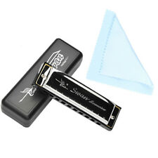 Swan Harmonica 10 Holes Key of C Silver With Blues Harp Case Stainless Steel