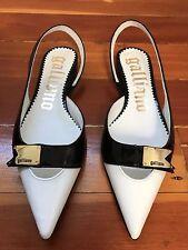 JOHN GALLIANO Point Leather Slingback Flats White Black Patent Sz 36 ITALY NEW