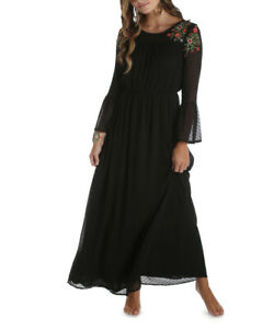 WRANGLER-L-XL-XXL-Black-Sheer-Embroidered-Peasant-Prairie-Maxi-Dress-Hippie-Boho