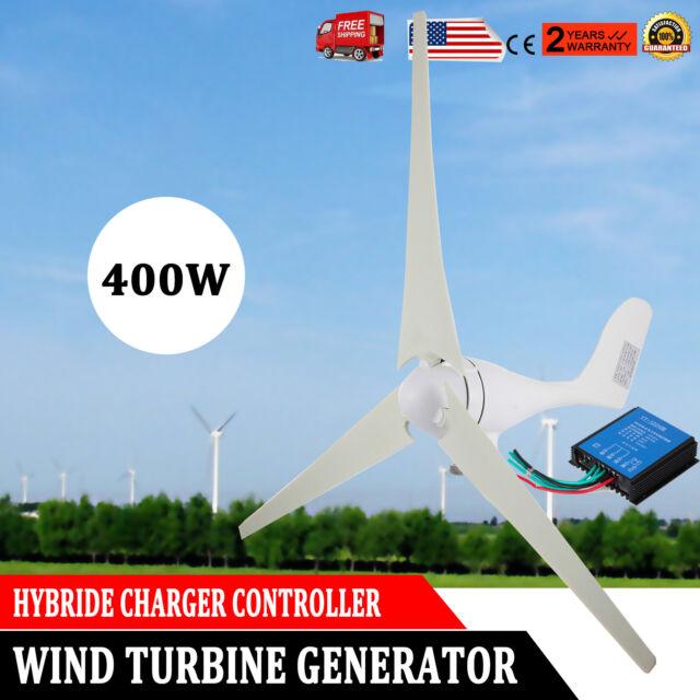 400W Wind Turbine Generator 3 Blades DC 24V Windmill Power Charge Controller