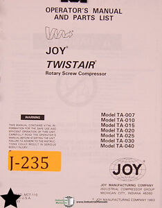 joy twistair ta series screw compressor operation wiring and parts rh ebay com joy twistair manual 150hp joy twistair manual 150hp