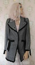 Rare! Vtg Renaissance Victorian Velvet Tweed Wool Jacket Coat Black White Grey S