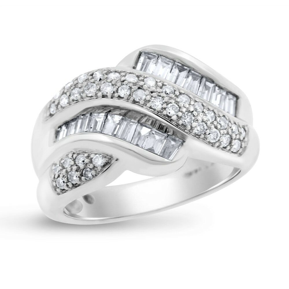 0.86 Ct. Natural Diamond Baguette Twisted Ring In Solid 14k White gold