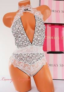 67be4fbbe9 VS Victoria s Secret High-Neck Lace Mesh Cut-Out Unlined Teddy Thong ...